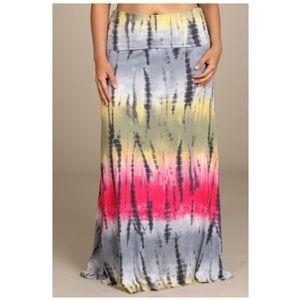 Dresses & Skirts - Plus Tie Dye Color Block Boho Flare Maxi Skirt